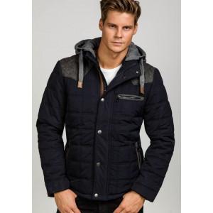 Prešívaná pánska zimná bunda tmavo modrá