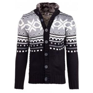 Čierny pánsky sveter s vianočným motívom