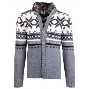 Sivý pánsky sveter v škandinávskom motíve