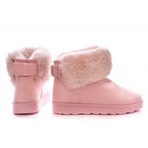 Ružové dámske topánky s kožuštekom