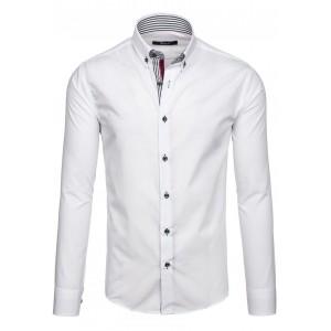 Moderná biela pánska košeľa s dlhými rukávmi