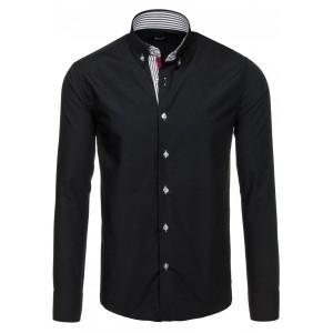 Čierna pánska košeľa s lémovaním okolo gombíkoch