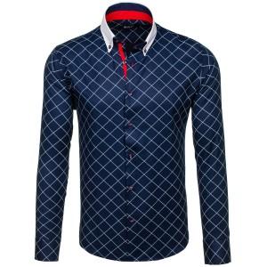 Pánska košeľa modrej farby s bielym golierom