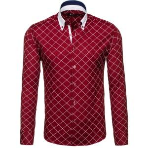 Bordová pánska košeľa karovaná