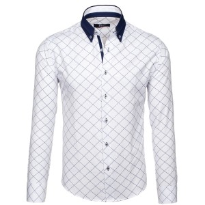 Biela károvaná pánska košeľa s bielym golierom