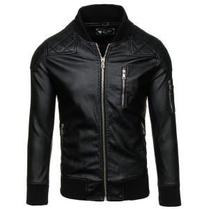 Pánska kožená bunda s vreckom na prednej strane