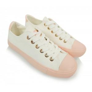 Biele dámske topánky na voľný čas s ružovým lemom