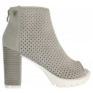 Sivé dámske topánky s otvorenou špičkou
