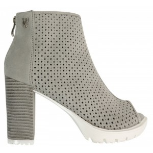 Sivé dámske topánky so zipsom
