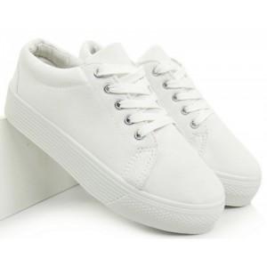 Biele dámske tenisky na šnurovanie