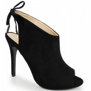 Dámske semišové topánky v čiernej farbe s otvorenou špičkou