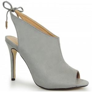 Semišové topánky na vysokom podpätku v sivej farbe