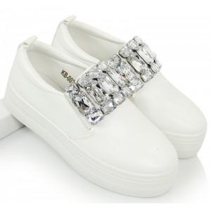 Biele dámske tenisky s kamienkami