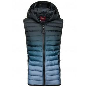 Pánska prešívaná vesta s kapucňou čierno modrej farby