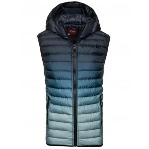 Pánska vesta modrej farby s kapucňou a vreckami
