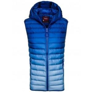 Jarná pánska prešívaná vesta na zips sýto modrej farby