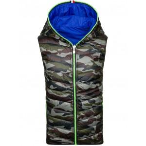Obojstranná pánska vesta na zips s kapucňou v modrej farbe