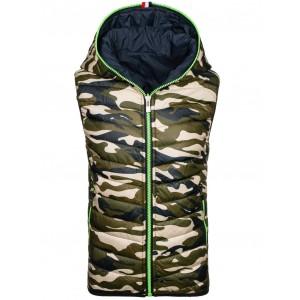 Obojstranná army vesta s kapucňou na zips v tmavomodrej farbe