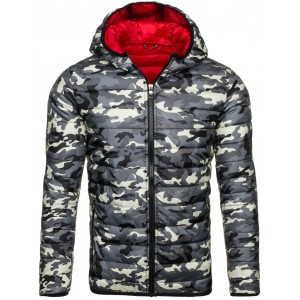 Jedinečná jarná prešívaná bunda pre pánov v sivej farbe v army štýle