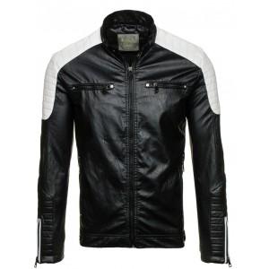 Pánska čierna kožená bunda so zipsom na rukávoch