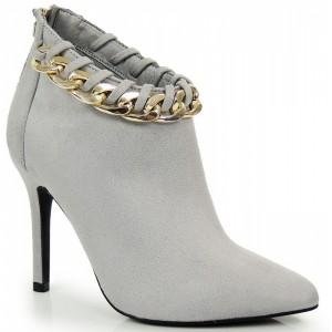 Elegantné sivé dámske topánky s retiazkou