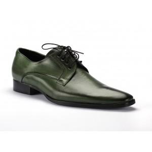 Zelené šnurovacie kožené topánky pre pánov COMODO E SANO