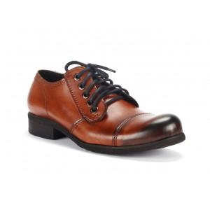 Pánske hnedé kožené topánky s tmavou špičkou COMODO E SANO