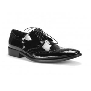 Kožené elegantné čierne lakované topánky pre pánov COMODO E SANO