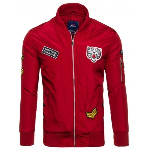 Červená bomber bunda pre pánov na jar