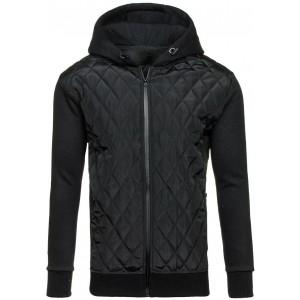 Čierna prechodná prešívaná bunda s kapucňou pre každého muža