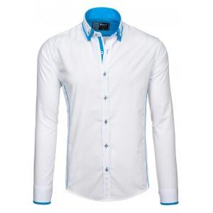 Elegantná pánska košeľa bielej farby s modrým lemom na goliery