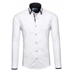 Moderná pánska košeľa s dlhým rukávom bielej farby