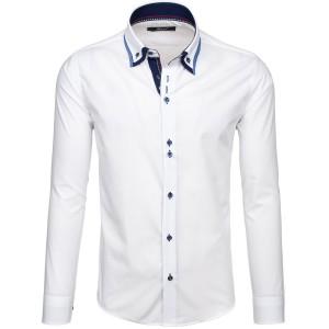 Pánska slim fit košeľa bielej farby s dvojitým golierom