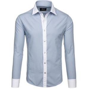 Svetlosivá pánska košeľa s bielym lemom