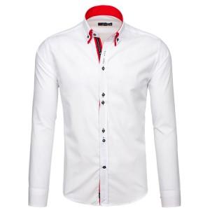 Pánska biela košeľa s dlhým rukávom s červeným lemovaním