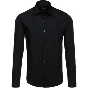 Klasická čierna slim fit košeľa s dlhým rukávom pre pánov