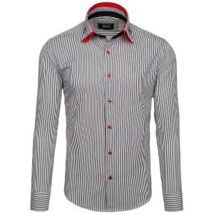 Pánska pásikavá košeľa s dlhým rukávom v čierno bielej farbe