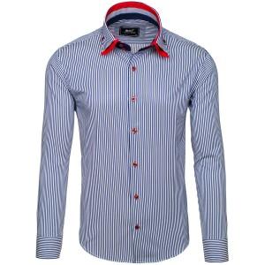 Pánska elegantná prúžkovaná košeľa v bielo modrej farbe