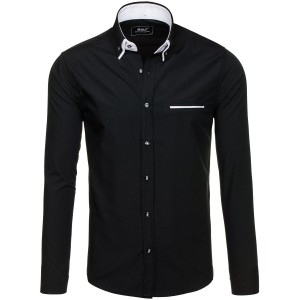 Pánska čierna košeľa s bielym lemovaním na golieri a vrecku