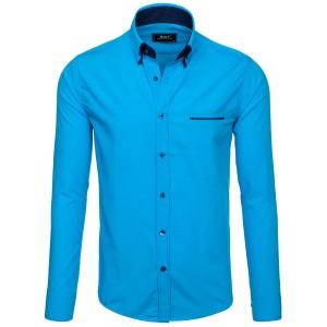 Košeľa pre pánov s dlhým rukávom v jasnej modrej farbe