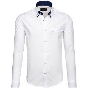 Biela obleková košeľa s dlhým rukávom pre mužov