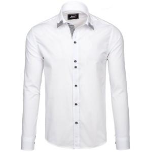 Spoločenská košeľa pre pánov bielej farby s kockovaným detailom na golieri