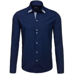 Tmavomodrá pánska košeľa s dlhým rukávom s detailom na golieri