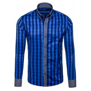 Pánska kockovaná košeľa modrej farby s dlhým rukávom