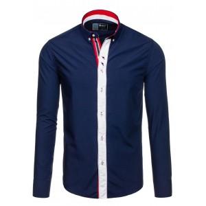 Pánska košeľa tmavomodrej farby s dlhým rukávom a gombíkmi na golieri
