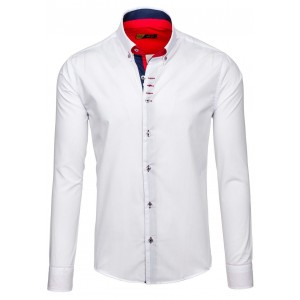 Oblekové biele slim košele pánske s dlhým rukávom