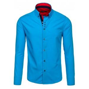 Košeľa v jasnej modrej farbe pánska s dlhým rukávom