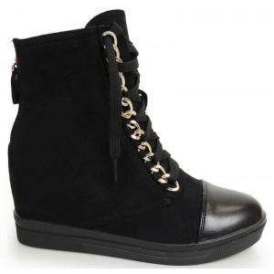 Čierne členkové topánky s platformou na šnúrky