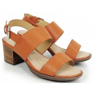 Oranžové sandále dámske na nízkom opätku