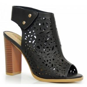 Čierne dámske sandále s otvorenou špičkou a pätou